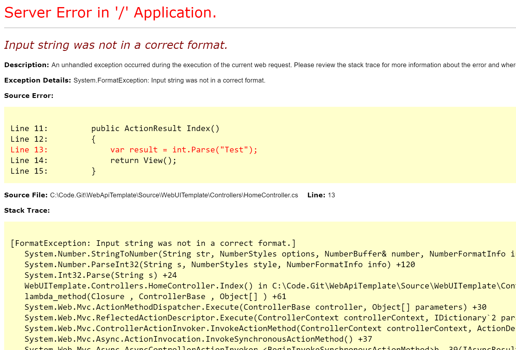Use ExceptionFilter to hide errors in your WebApi